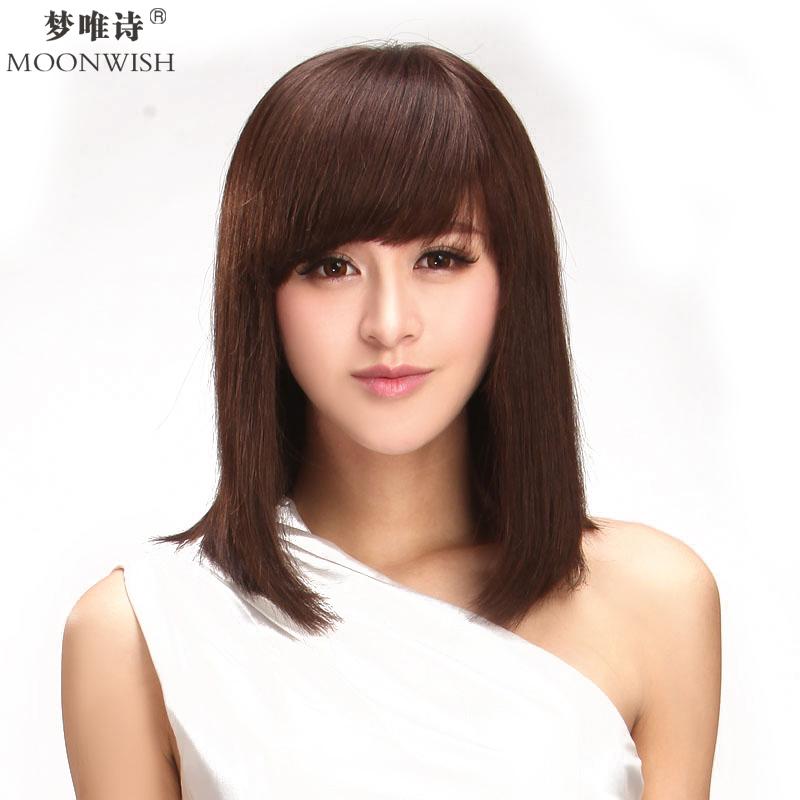 淑女气质中长微卷斜刘海梨花头假发 女 真发5004 x5黑巧克力色