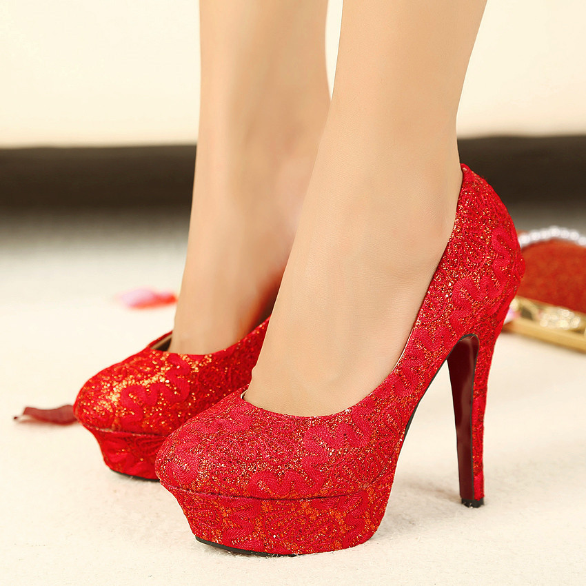 新款 蕾丝细跟防水台高跟鞋夜店红色女鞋婚鞋 黑色 37