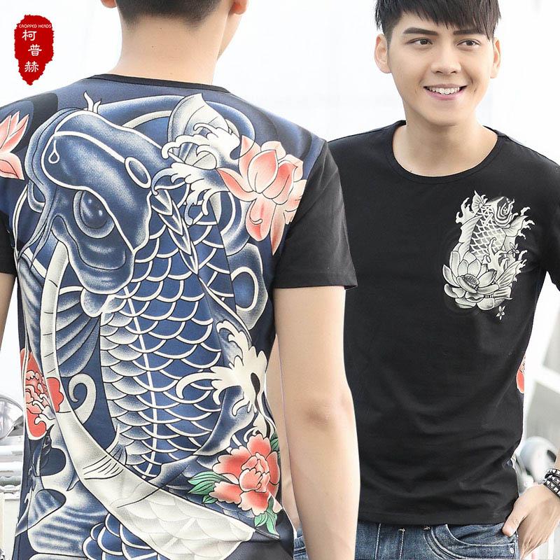 2015夏装男士中国风t恤 男短袖荷花鲤鱼纹身t恤 大满花个性霸气短袖