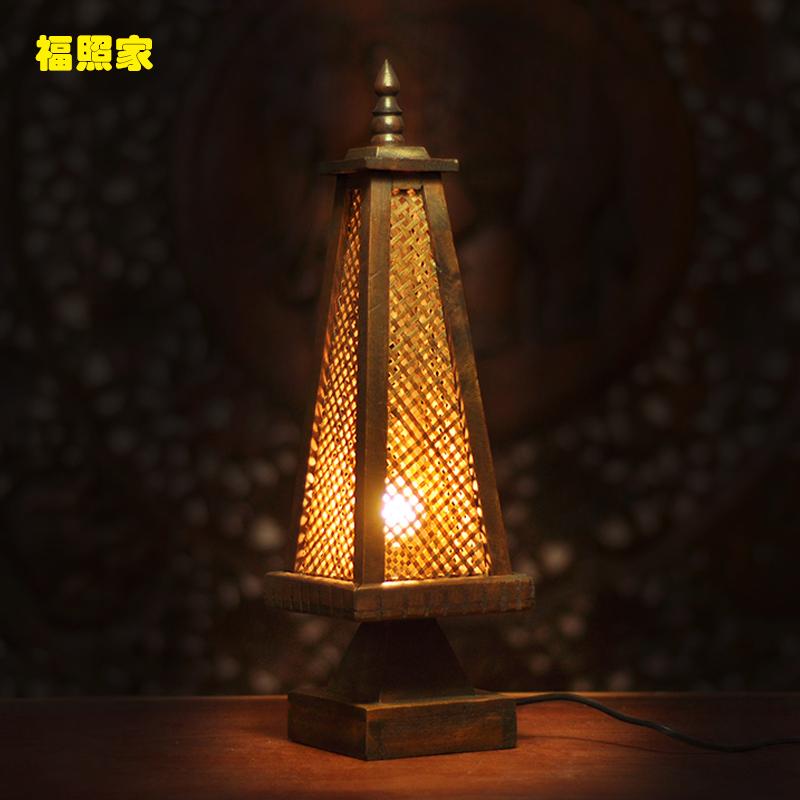 泰国特色竹编台灯 卧室床头灯