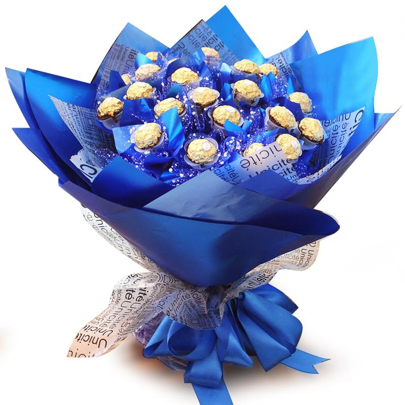 扣扣创意礼品鲜花创意礼品卡通花束费列罗巧克力生日礼物男女定制送礼