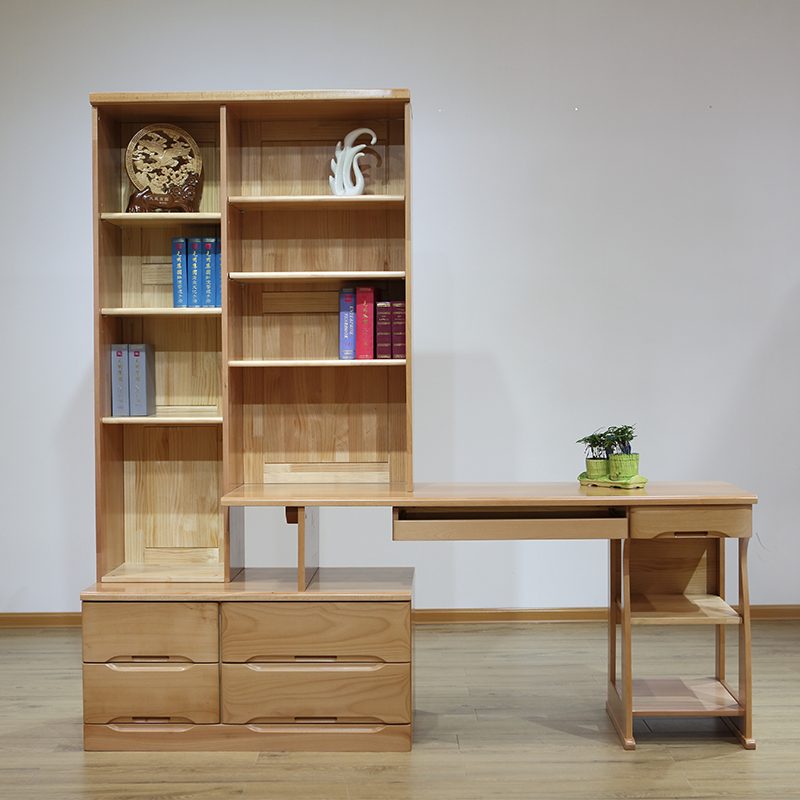 光明家具简约时尚木质转角书柜 实木书橱 书架 木质转椅组合 转角书