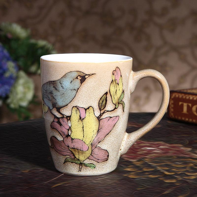 瓷彩美 鸟语花香 中国风 特色手绘 陶瓷杯 马克杯子 釉下彩个性创意