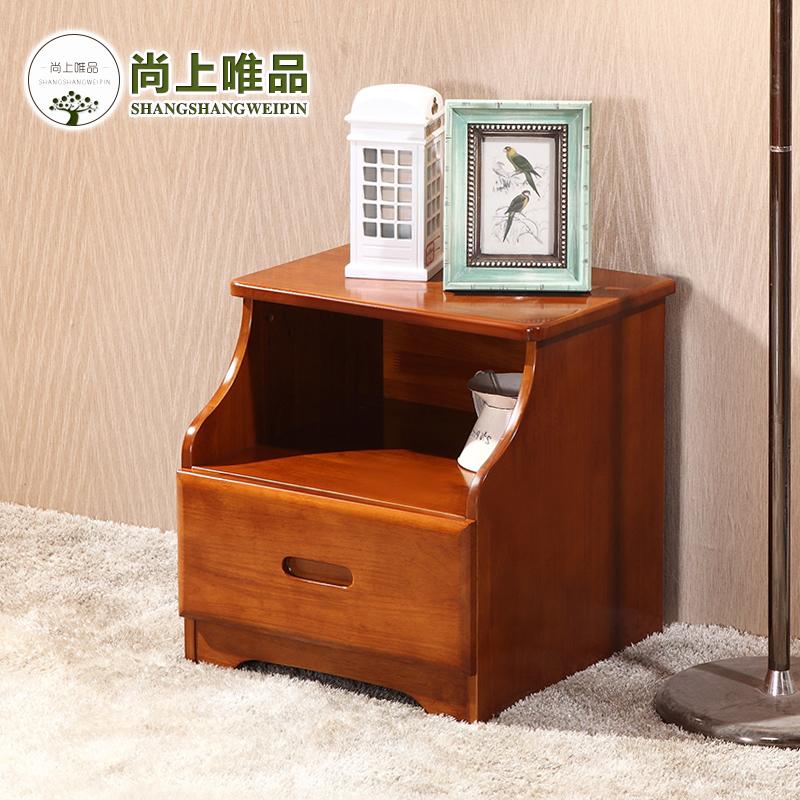 尚上唯品家具现代中式简约橡胶木二抽斗储物灯柜实木床头柜 实木色