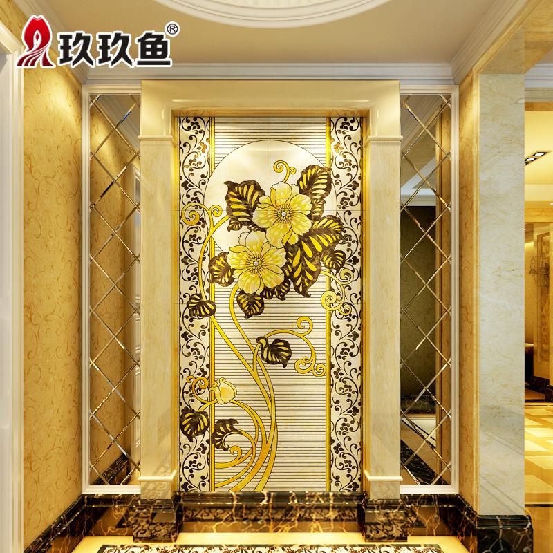 玖玖鱼 微晶石背景墙 微晶石电视墙壁画 防潮瓷砖雕刻