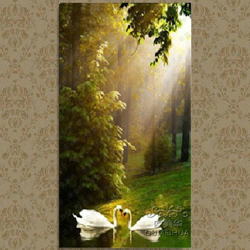 欧美华欧式油画天鹅湖纯手绘山水风景别墅客厅玄关过道装饰画竖版挂