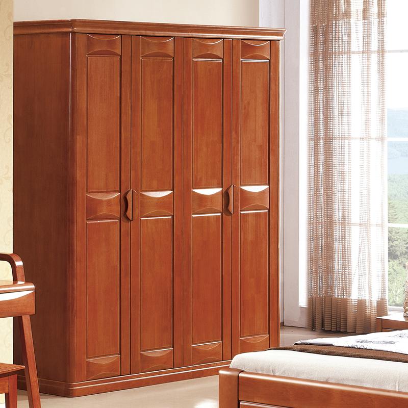 艾美悦实木衣柜 中式平开门橡木大衣柜 三四五六门储物柜 简约现代