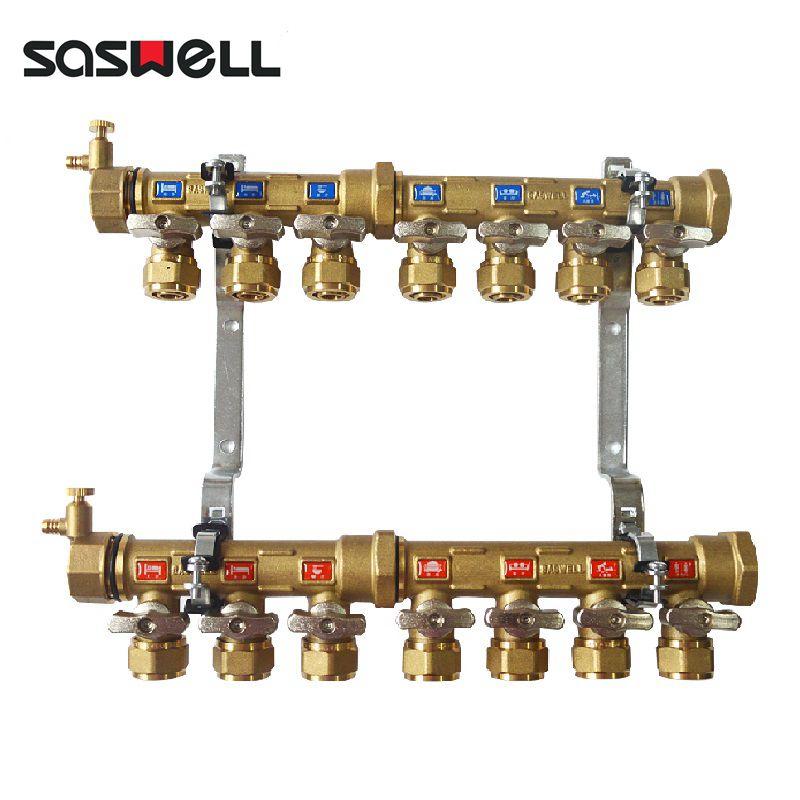 森威尔saswell黄铜地暖专用分集水器地热双阀分水器(手动支路调节阀图片