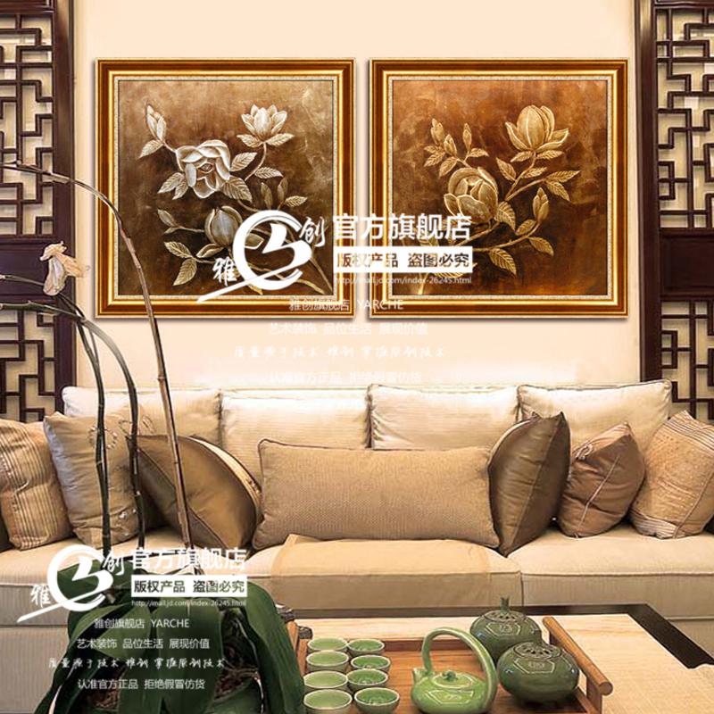雅创 纯手绘油画东南亚泰式有框画客厅卧室装饰画餐厅