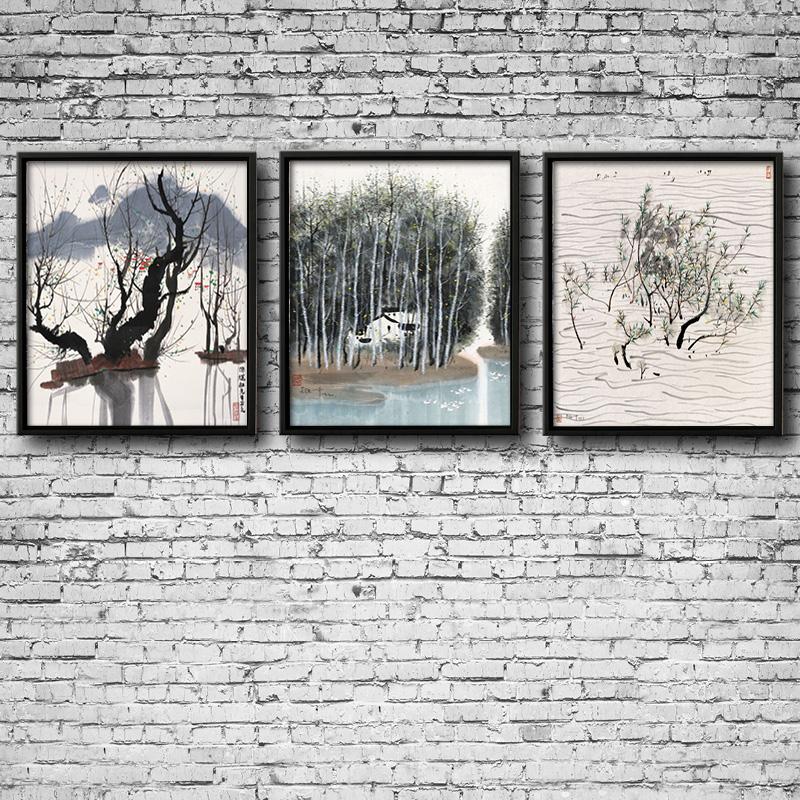 手绘油画现代简约中式风景 客厅拼套装饰画拼套画 印 纯手绘 实木画框