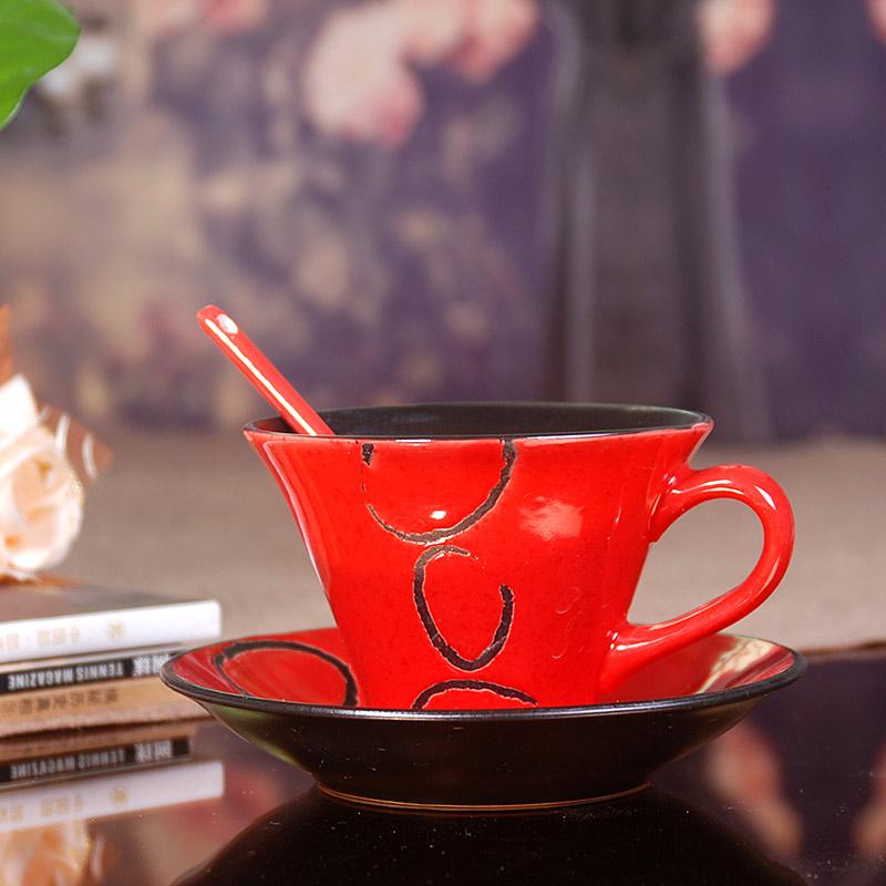 送勺 红色诱惑 手绘咖啡杯碟 套装 特色复古陶瓷杯子创意欧式茶水杯