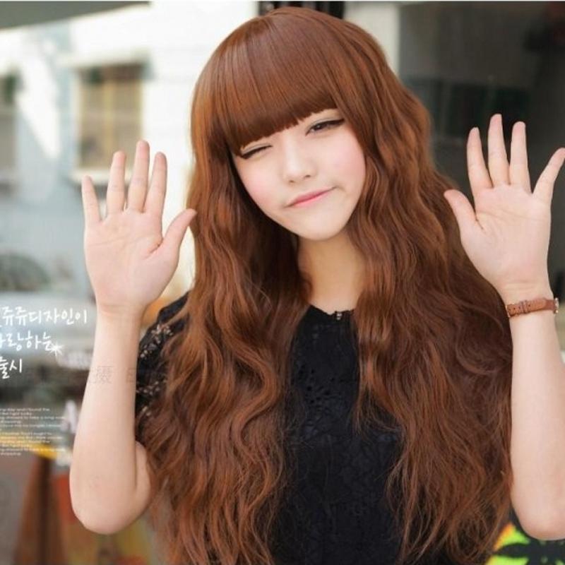 长卷发齐刘海亚麻色韩版非主流蓬松修脸逼真个性发型图片