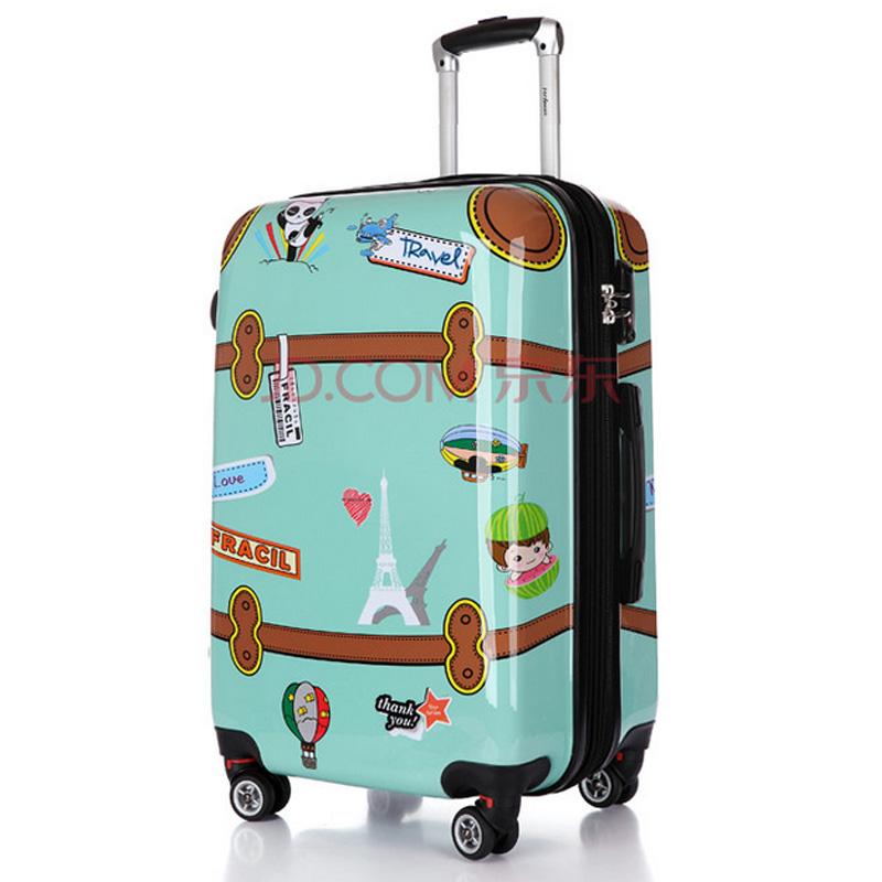 菲萝迪 时尚卡通复古飞机轮万向轮行李箱 20 24 28寸旅行箱 复古皮箱