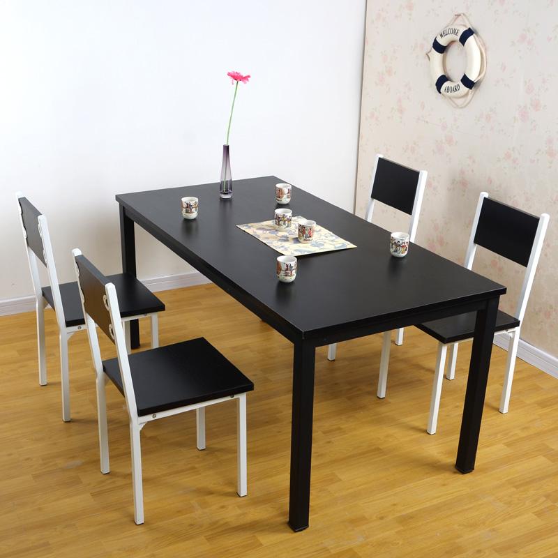 意美特 餐桌 餐椅套装 钢木结构桌 家用餐桌椅 小户型