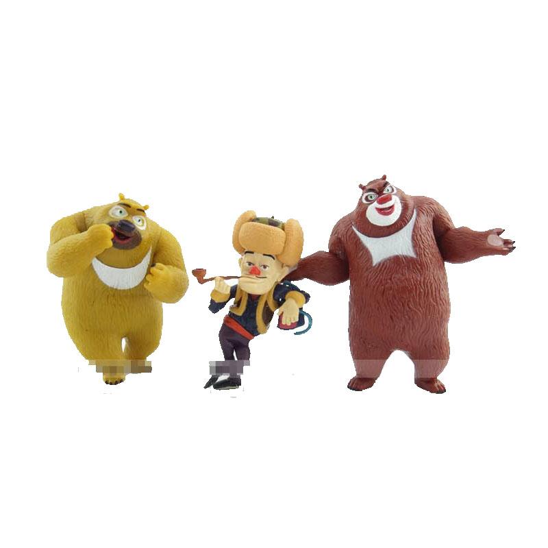 c1 熊出没光头强熊大熊二臭狗熊人偶公仔儿童玩具套装