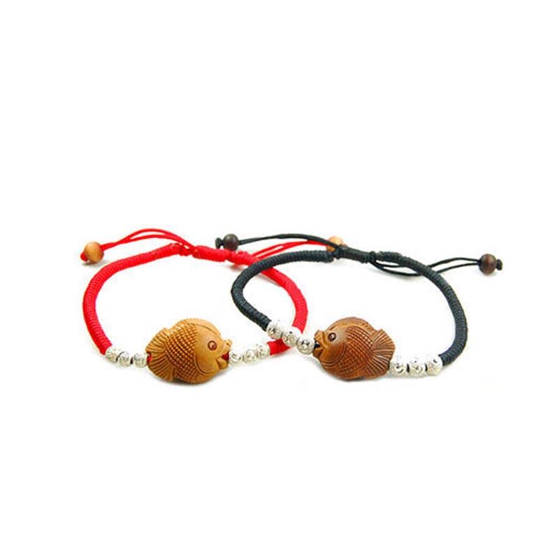 原创桃木桃核对吻鱼纯银转运珠情侣红绳手链 年年有余