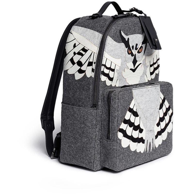 华伦天奴/valentino 拼色几何图案真皮双肩背包 owl applique wool fe图片