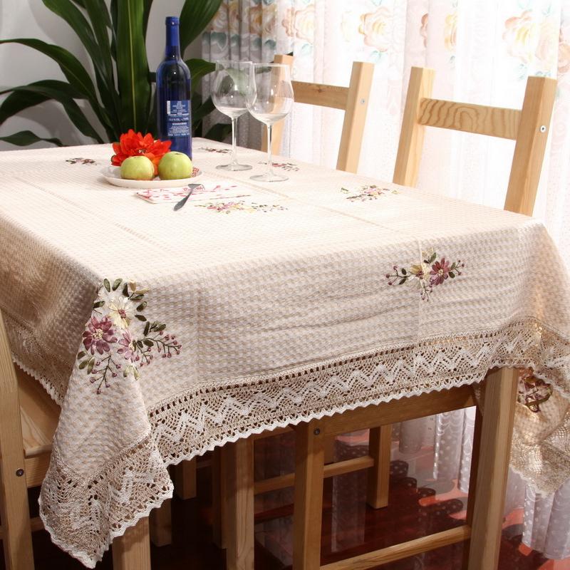 至佑餐桌布棉麻纯手工丝带绣花台布茶几布 田园布艺圆