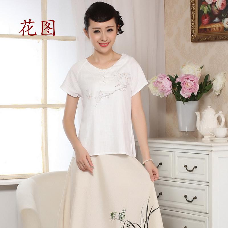 花图新款夏装复古手绘旗袍上衣短袖棉麻手绘衬衫民族风女装 0072白色