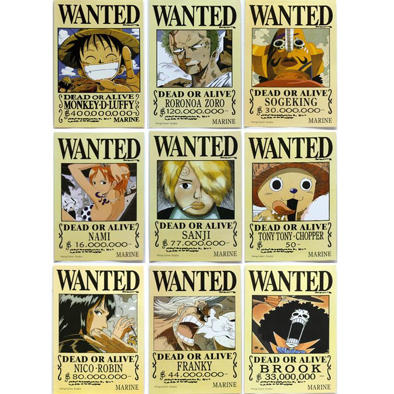 甜蜜城堡 海贼王航海王通缉令海贼王海报 路飞海贼团全套9张 16张卡贴