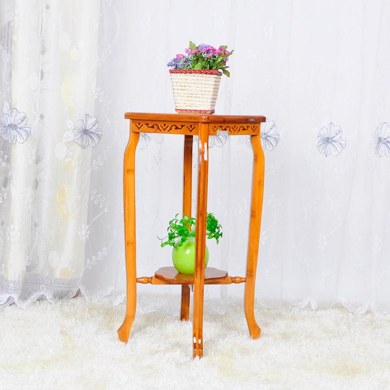 竹庭zhuting楠竹实木客厅花架古典风格 两层古典花架