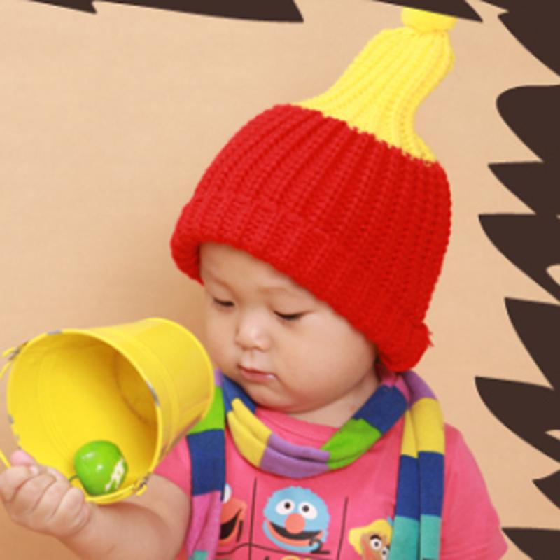 秋冬季儿童毛线帽韩国可爱荧光色保暖套头帽 宝宝豆丁帽 婴儿帽子