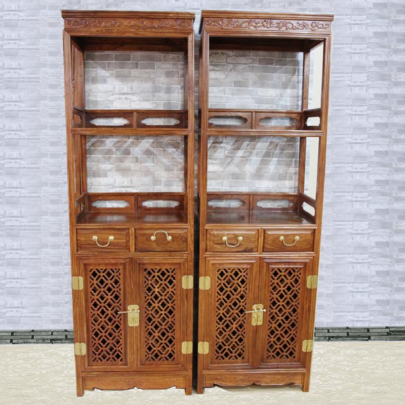 集一美红木家具红木酒柜实木陈设柜储物柜展示柜单个100%刺猬紫檀木