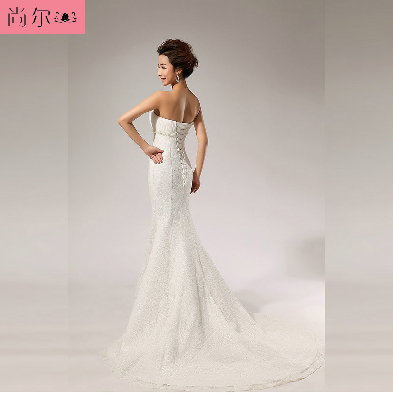 台丝韩式公主婚纱晚礼服 蕾丝抹胸新娘婚纱礼服 结婚敬酒服长裙xs2055