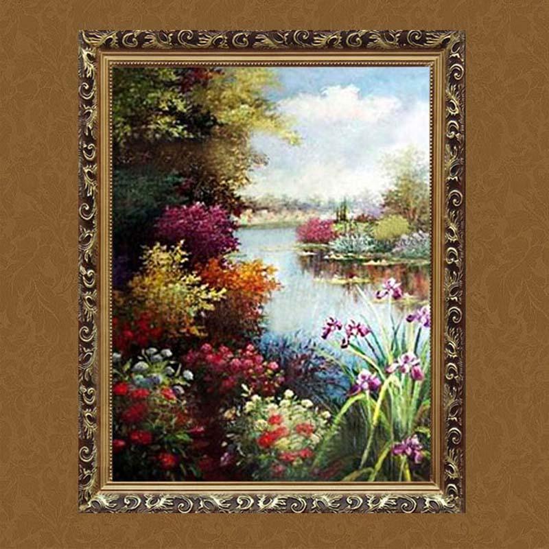 水竞客厅欧式装饰画挂画纯手绘画餐厅玄关卧室有框油画天鹅湖风景 b款