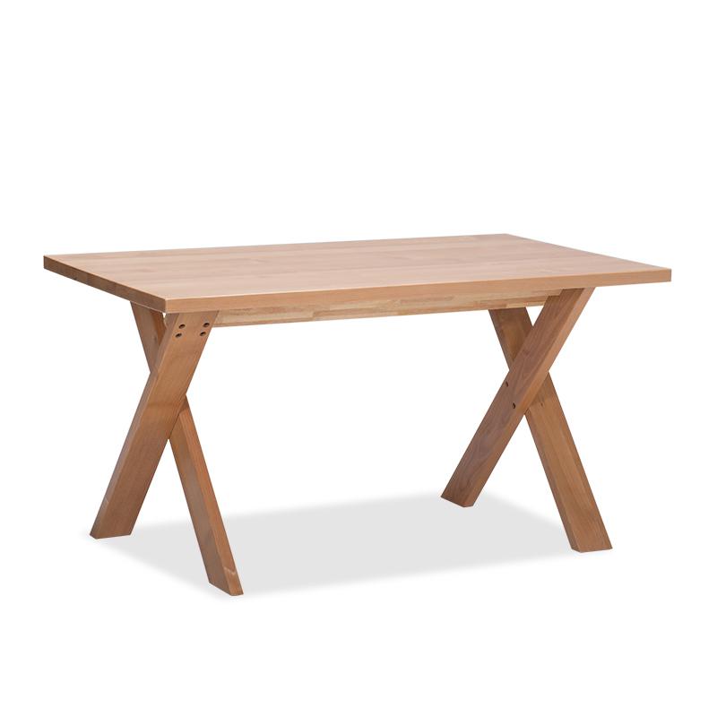 木头公园实木x型腿简约餐桌 赤桦木全实木客厅餐桌 桌