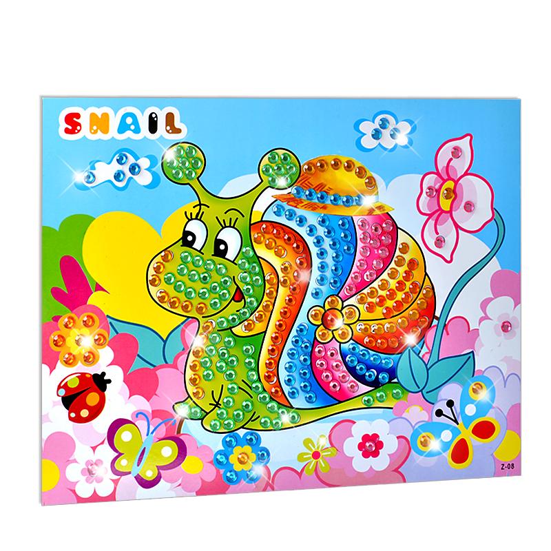 儿童手工制作玩具 eva钻石立体贴纸画 动物萌照(8张大钻石贴画)