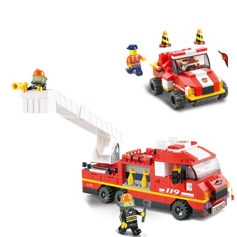 小鲁班积木 消防中心紧急出动消防车警车 儿童益智 拼插积木男孩玩具