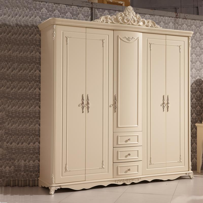帕菲娅 欧式实木衣柜 法式无门带抽大衣柜象牙白五门带抽n816