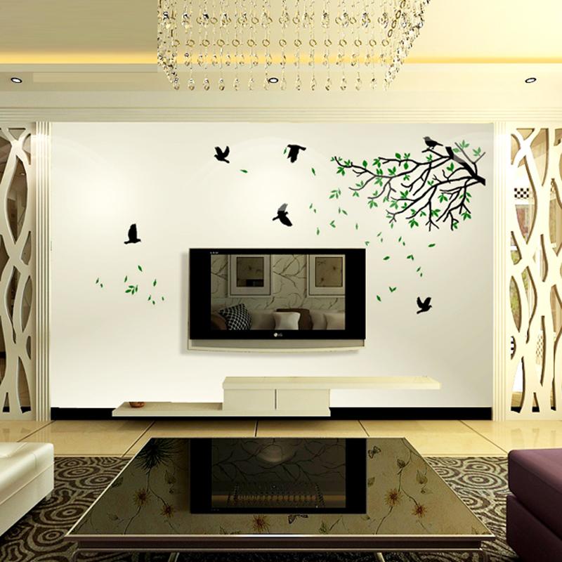 雅刻丽立体墙贴客厅电视墙墙贴浪漫水晶亚克力背景沙发墙春色小鸟