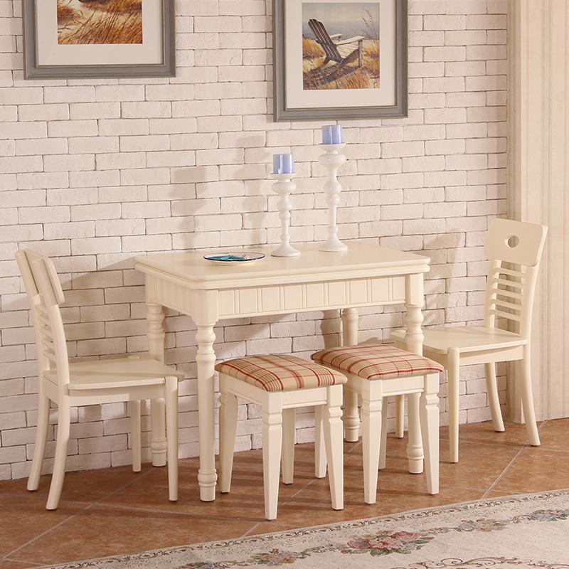 紫钻家具 可折叠餐桌椅套装组合实木小户型饭桌餐台白色a002 1桌 2椅