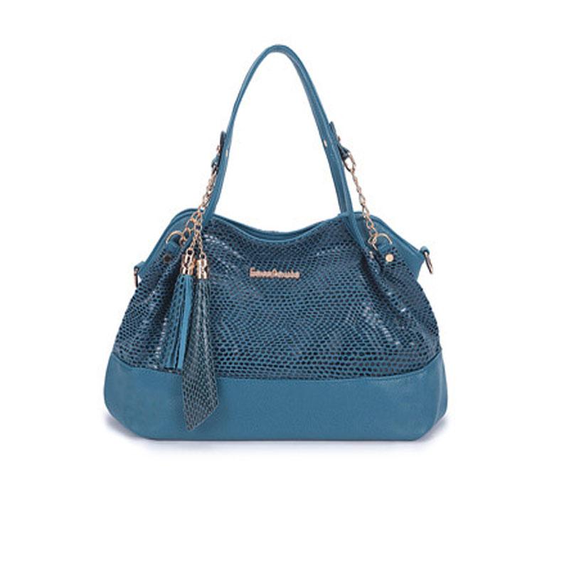 忆索保罗 女包 2015新款韩版单肩斜跨时尚链条亮片大包包 es3076 蓝色