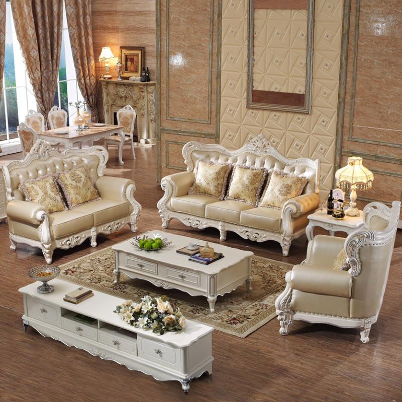德鹰 欧式皮艺沙发组合 大户型美式实木雕花法式沙发图片