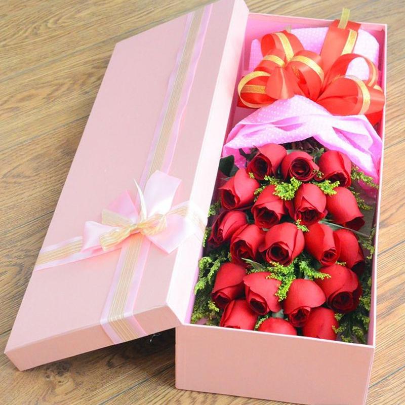 m款-19朵红玫瑰长方形礼盒