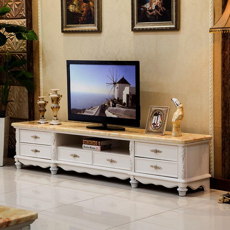 欧裔家具 欧式大理石电视柜 六抽屉简欧小户型田园象牙白实木地柜 b03