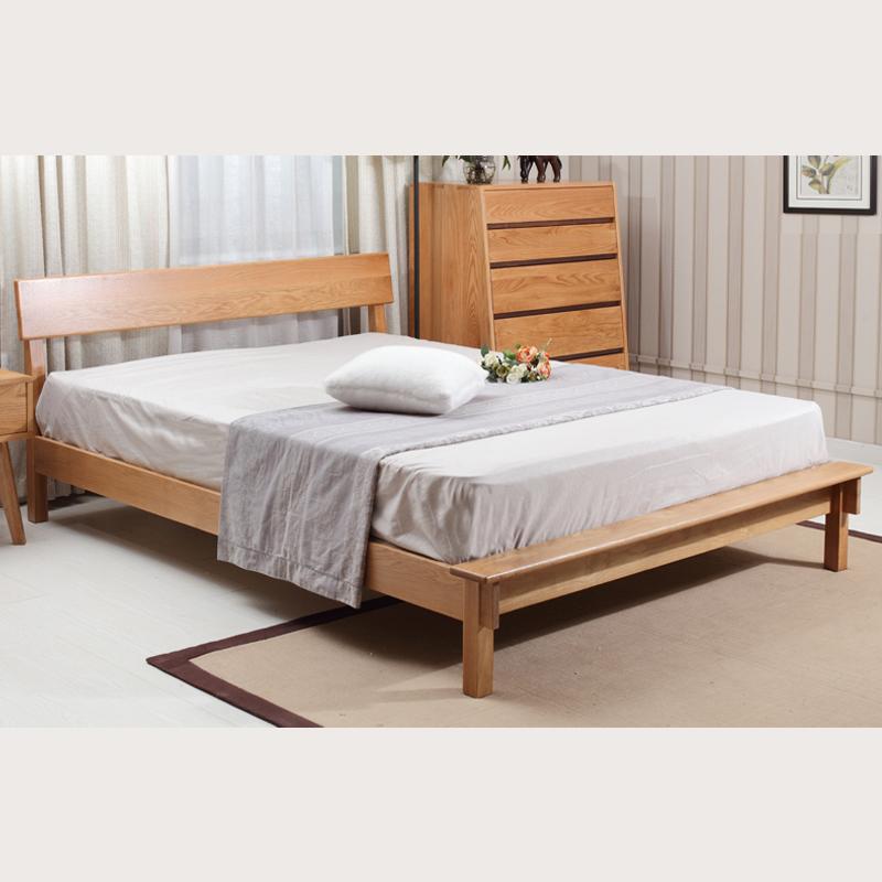 5/1.8米大床日式简约卧室家具 原木色 1.2床