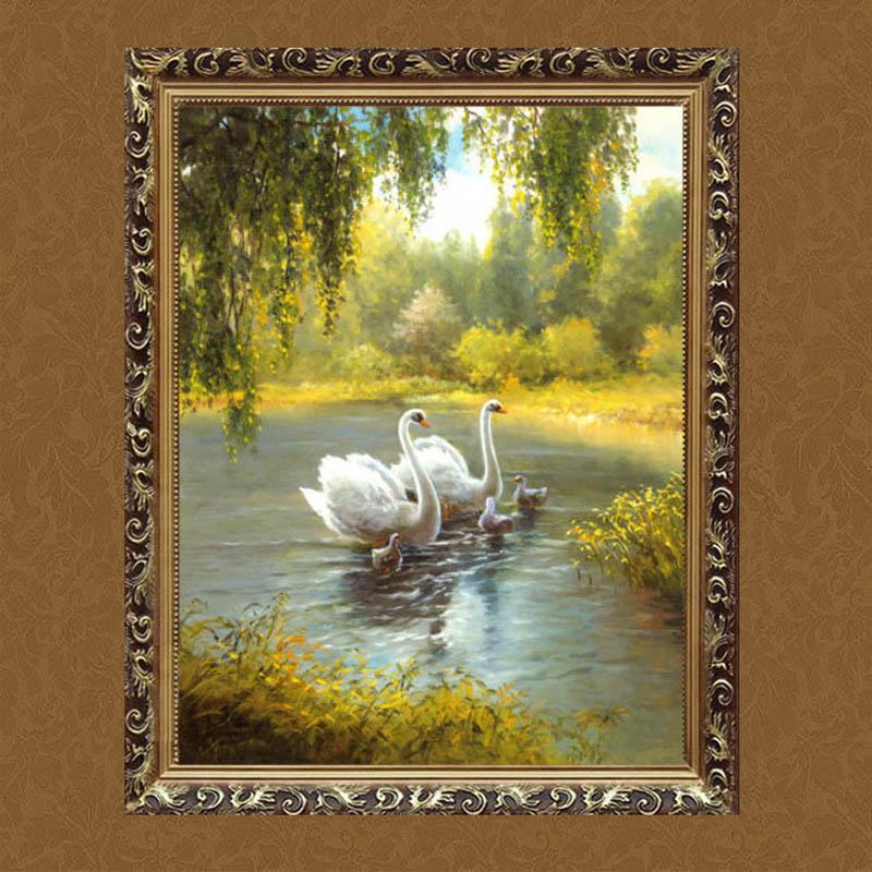 水竞客厅欧式装饰画挂画纯手绘画餐厅玄关卧室有框油画天鹅湖风景 a款