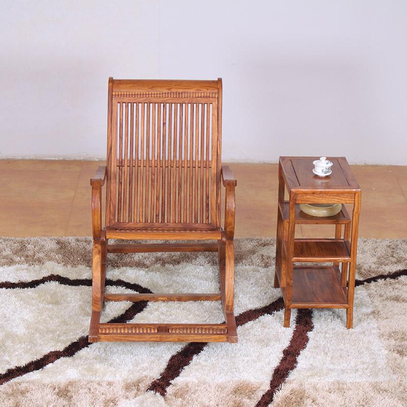 粤顺 红木摇椅 实木休闲椅小茶几 红木家具黄花梨木躺椅 阳台户外客厅