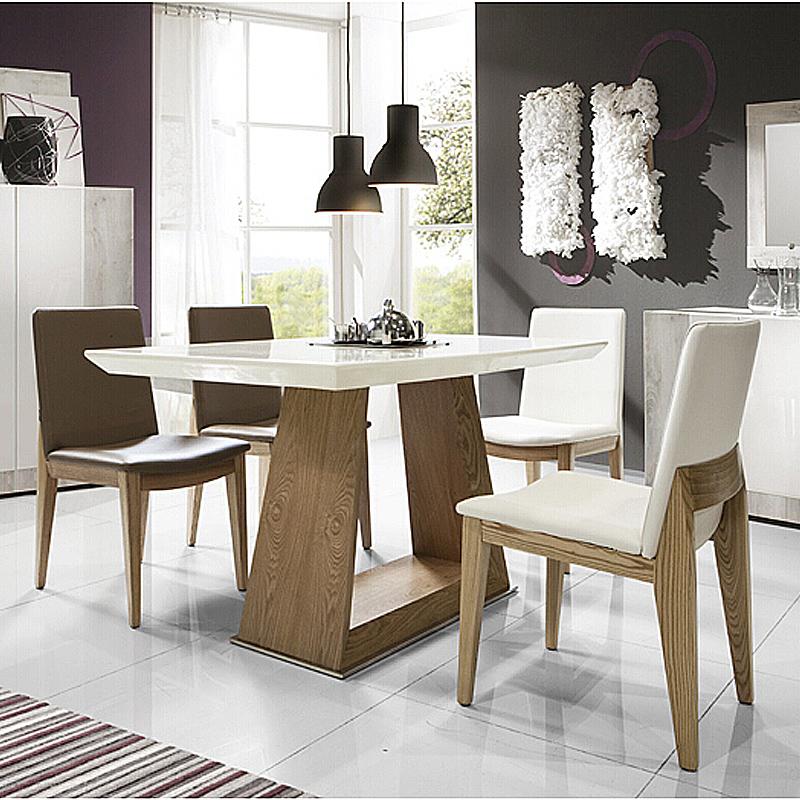 北欧风格宜家餐桌 白色大理石餐台 长方形餐桌 水曲柳实木餐桌椅组合