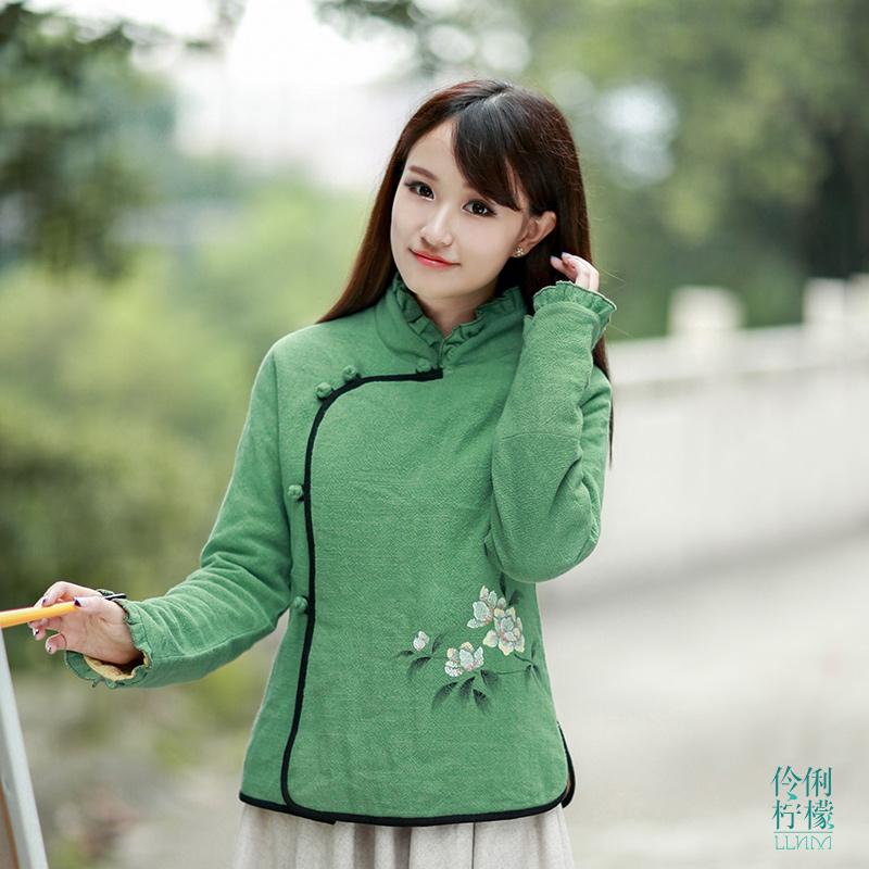 伶俐柠檬90211复古中国风手绘棉衣民族风女装原创设计