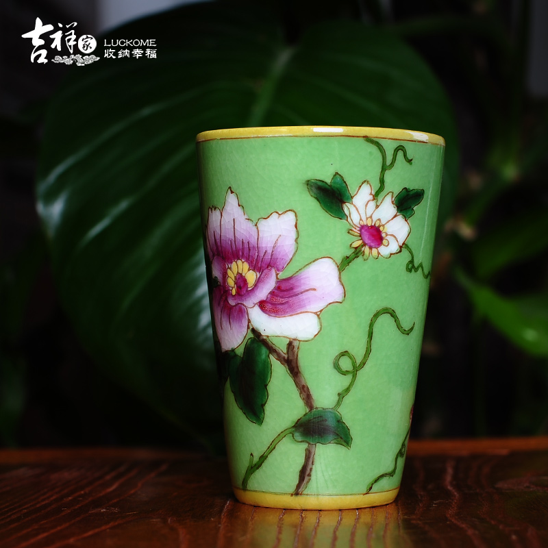 吉祥家 新中式杯子[鹂语芳菲]手绘陶瓷茶杯