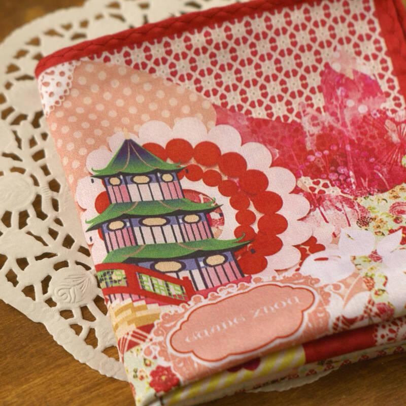 旅游礼品 广州地图文化创意【缎棉】手帕 丝巾方巾 景观美食图案