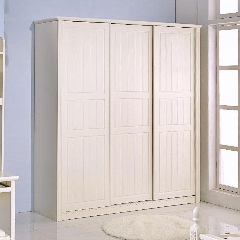 金岁堡 田园衣柜 推拉门衣柜 韩式趟门衣柜 木质三门衣柜 移门衣橱
