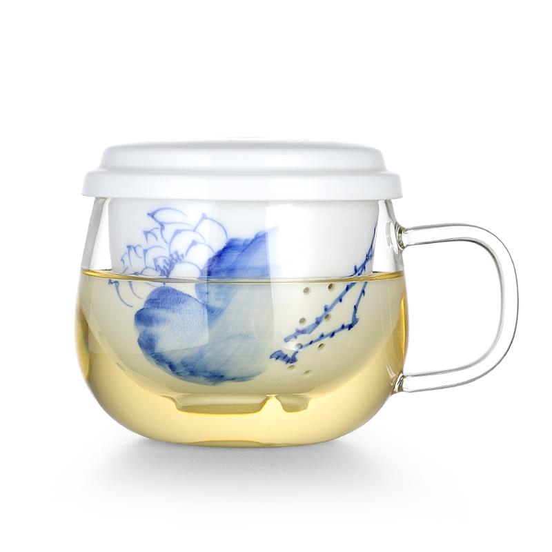 左茗右器 耐热玻璃杯 透明水杯 手绘青花陶瓷内胆过滤