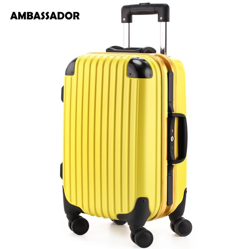 ambassador大使拉杆箱欧洲标准登机箱18寸铝框男女行李箱包pc万向飞机