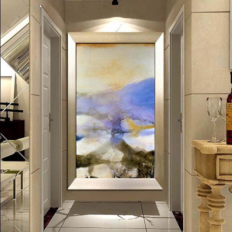 水竞现代抽象油画手绘玄关装饰画竖版走廊壁画赵无极简约挂画 香槟